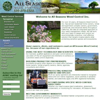 All Seasons Weed Control website